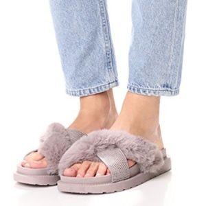 SAM EDELMAN Bianca faux fur gray slide sandal, 10